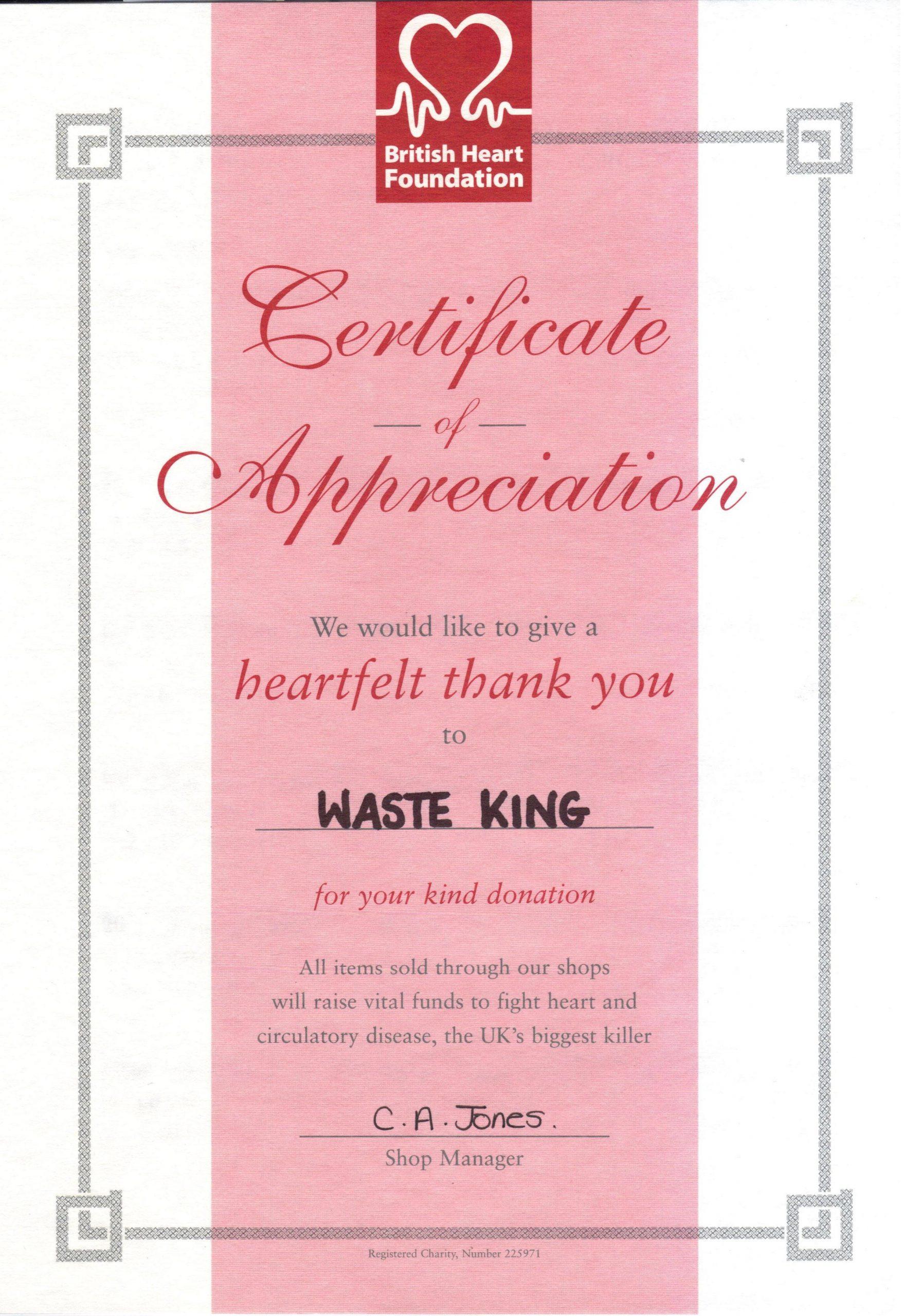 Waste King wins the British Heart Foundation's heartfelt thanks