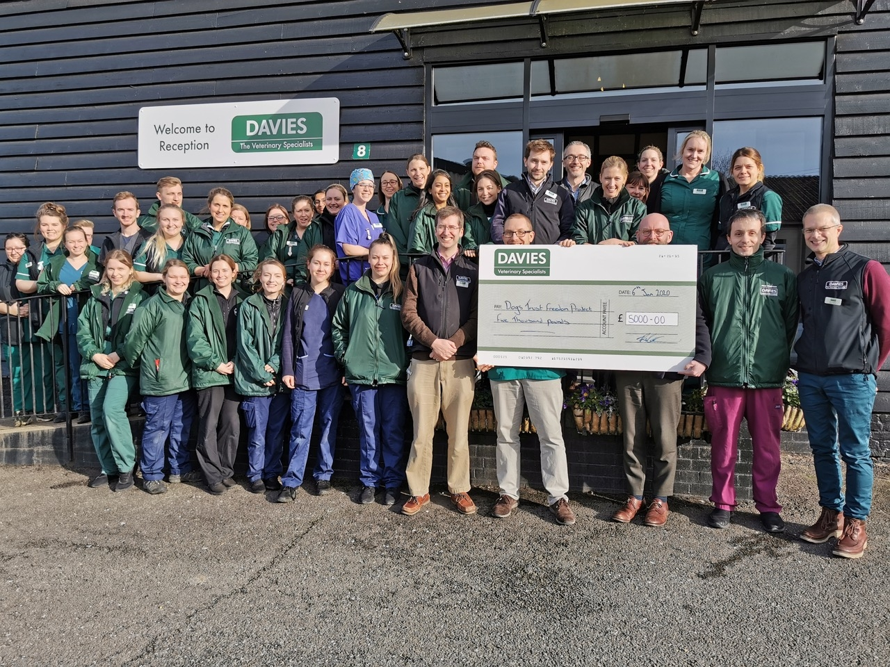 Davies Donates Cheque To Dogs Trust Freedom Project